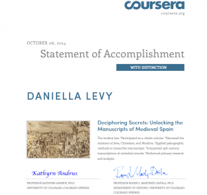 Cropped image of my certificate from Coursera