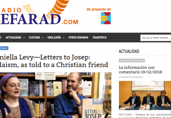 "screenshot of Radio Sefarad web page with the heading, ""Daniella Levy--Letters to Josep: Judaism, as told to a Christian Friend"""